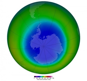 False-color view of total ozone over the Antarctic pole.