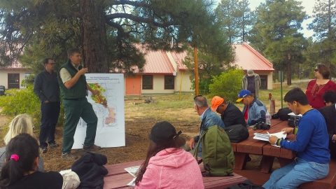 Central Asian conservation leaders learn about fire management practices on the Carson National Forest. Photo Credit: Mitch Roberts, USFS