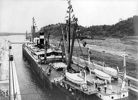 SS Ancon enters the Panama Canal, 1914